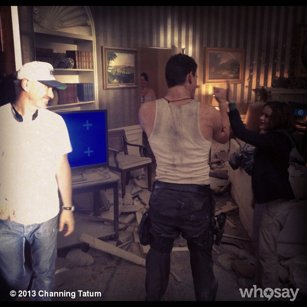 Channing Tatum, Roland Emmerich and Joey King White House Down Set